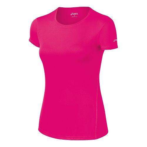 Womens ASICS Core Short Sleeve Technical Tops - Magenta XS