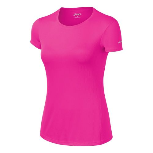 Womens ASICS Core Short Sleeve Technical Tops - PinkGlo XS