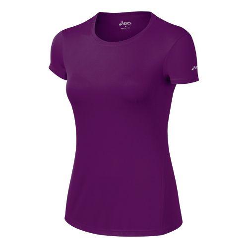 Womens ASICS Core Short Sleeve Technical Tops - Plum XL