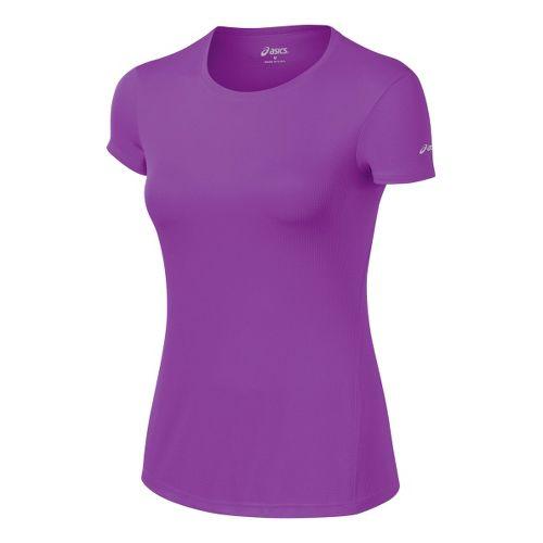 Womens ASICS Core Short Sleeve Technical Tops - Purple Pop M