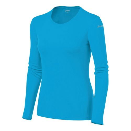 Womens ASICS Core Long Sleeve No Zip Technical Tops - Atomic Blue M