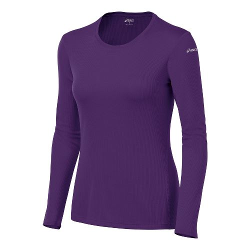 Womens ASICS Core Long Sleeve No Zip Technical Tops - Berry S