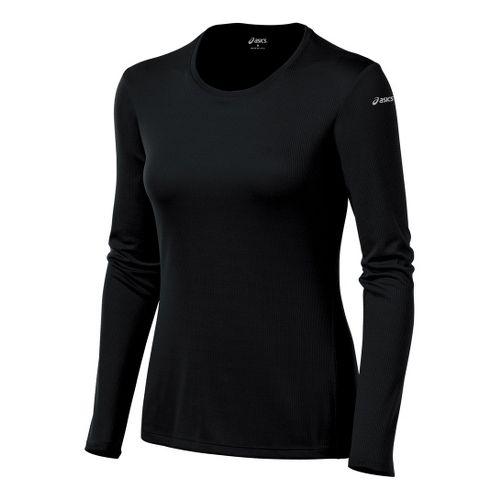 Womens ASICS Core Long Sleeve No Zip Technical Tops - Black XS