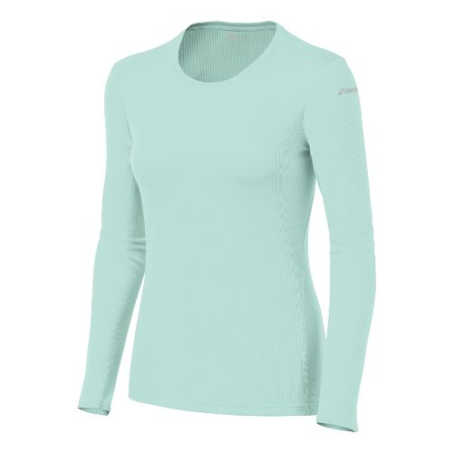 Womens ASICS Core Long Sleeve No Zip Technical Tops - Crystal Blue L