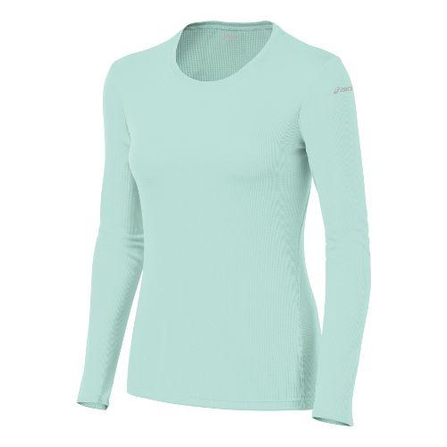 Womens ASICS Core Long Sleeve No Zip Technical Tops - Crystal Blue XL