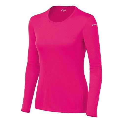Womens ASICS Core Long Sleeve No Zip Technical Tops - Magenta S