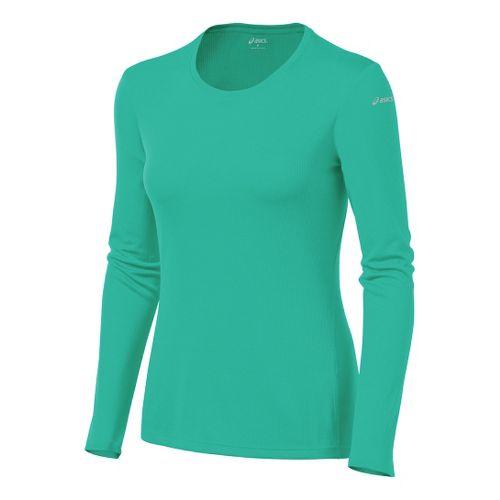 Womens ASICS Core Long Sleeve No Zip Technical Tops - Mint M
