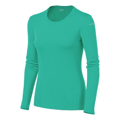 Womens ASICS Core Long Sleeve No Zip Technical Tops - Mint S
