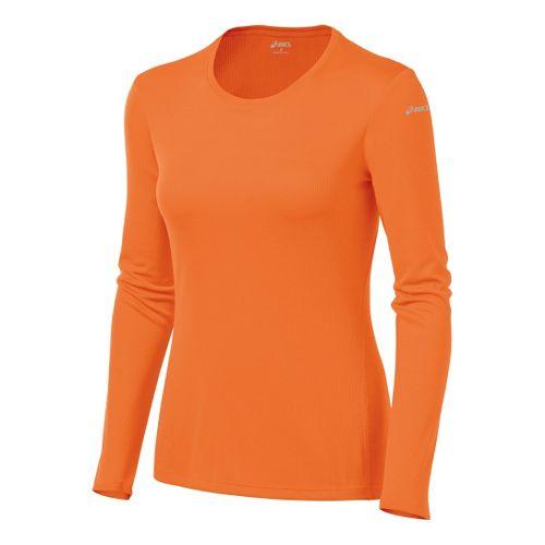 Womens ASICS Core Long Sleeve No Zip Technical Tops - Orange Burst XS