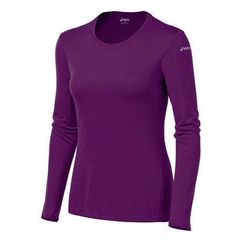 Womens ASICS Core Long Sleeve No Zip Technical Tops - Plum L