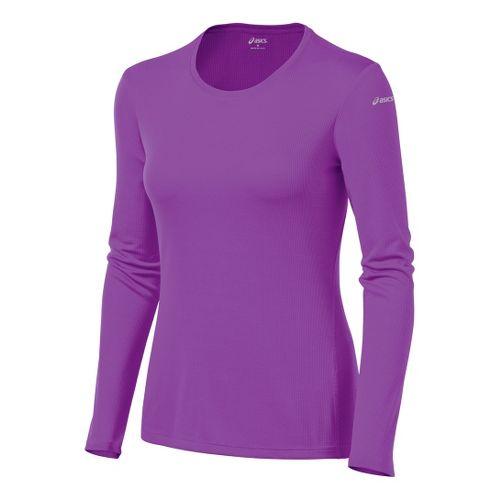 Womens ASICS Core Long Sleeve No Zip Technical Tops - Purple Pop S