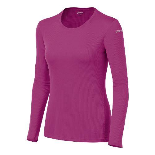 Womens ASICS Core Long Sleeve No Zip Technical Tops - Wild Aster S