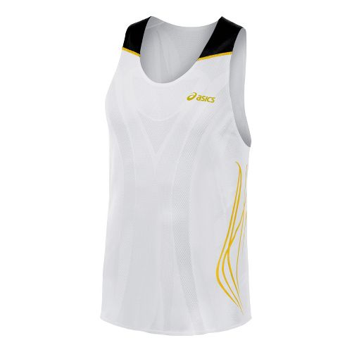 Mens ASICS TIL Singlet Technical Tops - White XL
