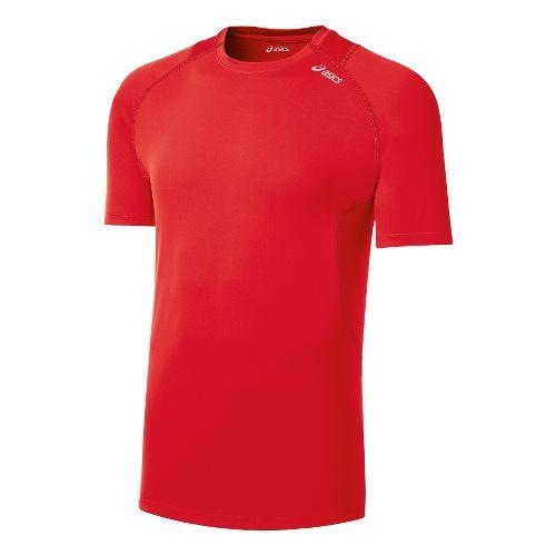 Mens ASICS Favorite Short Sleeve Technical Tops - Red Heat XXL