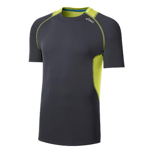 Mens ASICS Favorite Short Sleeve Technical Tops - Steel/Sunny Lime L