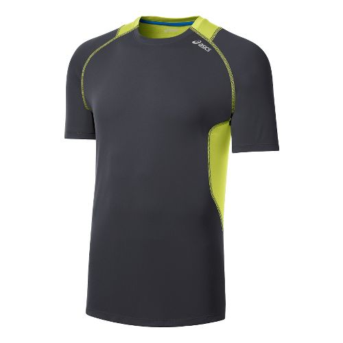 Mens ASICS Favorite Short Sleeve Technical Tops - Steel/Sunny Lime M