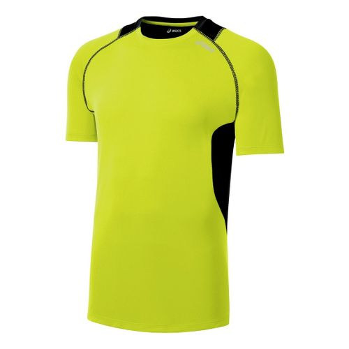 Mens ASICS Favorite Short Sleeve Technical Tops - WOW/Black L