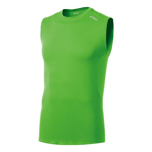 Mens ASICS Favorite Sleeveless Technical Tops - Green Gecko L