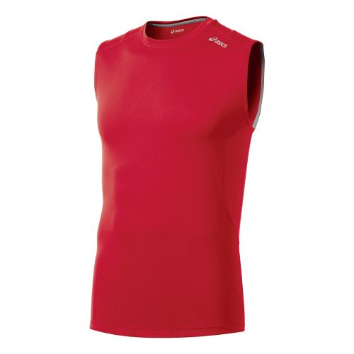 Mens ASICS Favorite Sleeveless Technical Tops - True Red XXL