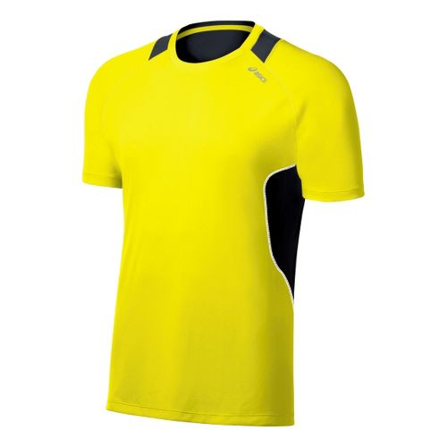 Mens ASICS Lite-Show Favorite Short Sleeve Technical Tops - Neon/Steel L
