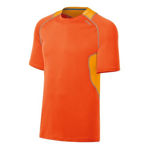 Mens ASICS Lite-Show Favorite Short Sleeve Technical Tops - Radiant/Fuel XL
