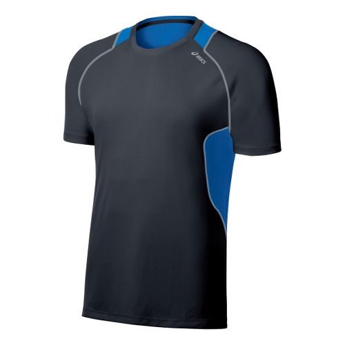 Mens ASICS Lite-Show Favorite Short Sleeve Technical Tops - Steel/Electric L