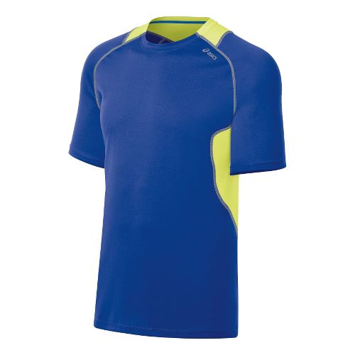Mens ASICS Lite-Show Favorite Short Sleeve Technical Tops - Surf/Lime XXL
