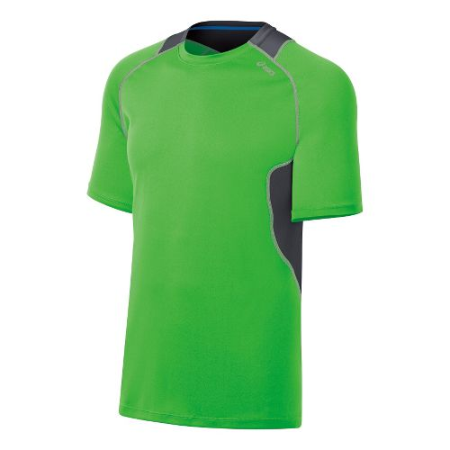 Mens ASICS Lite-Show Favorite Short Sleeve Technical Tops - Track/Steel XL