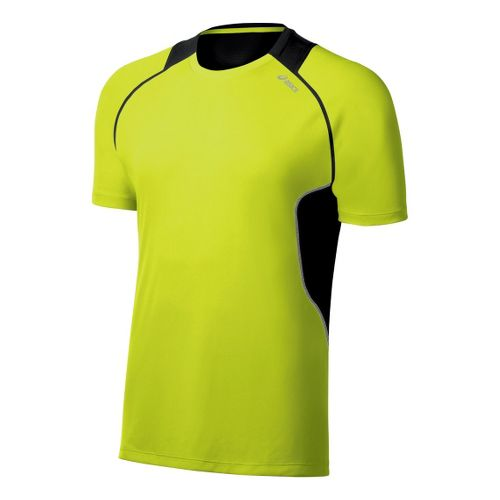 Mens ASICS Lite-Show Favorite Short Sleeve Technical Tops - WOW/Black S