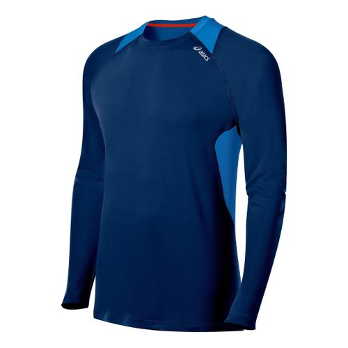 Mens ASICS Favorite Long Sleeve No Zip Technical Tops - Ink/Electric M