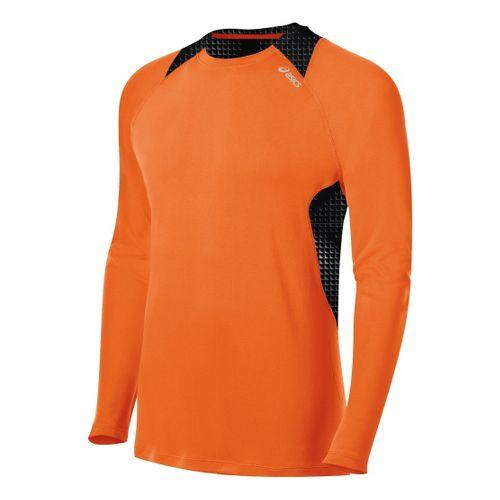 Mens ASICS Favorite Long Sleeve No Zip Technical Tops - Orange Burst XL
