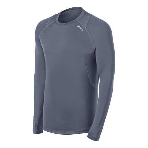 Mens ASICS Favorite Long Sleeve No Zip Technical Tops - Slate M