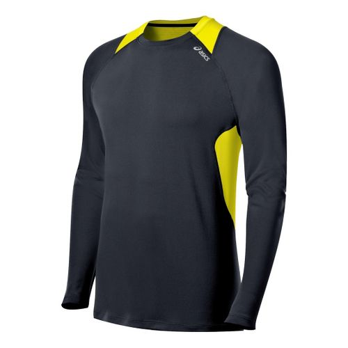 Mens ASICS Favorite Long Sleeve No Zip Technical Tops - Steel/Neon M