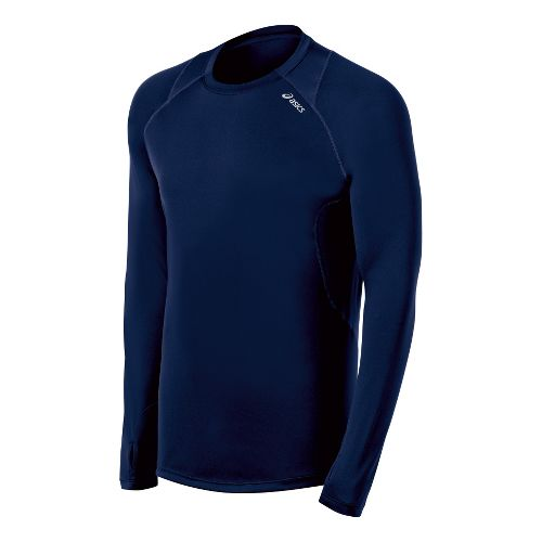 Mens ASICS Favorite Long Sleeve No Zip Technical Tops - True Navy S