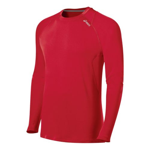 Mens ASICS Favorite Long Sleeve No Zip Technical Tops - True Red XL
