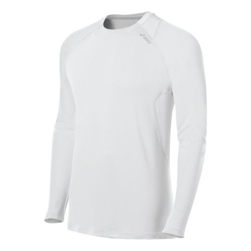Mens ASICS Favorite Long Sleeve No Zip Technical Tops - White M
