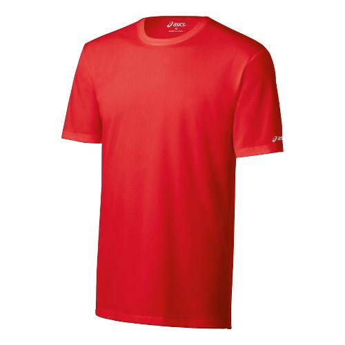 Mens ASICS Ready-Set Short Sleeve Technical Tops - Red Heat M