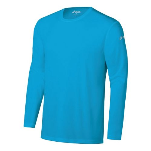 Mens ASICS Ready-Set Long Sleeve No Zip Technical Tops - Atomic Blue XS