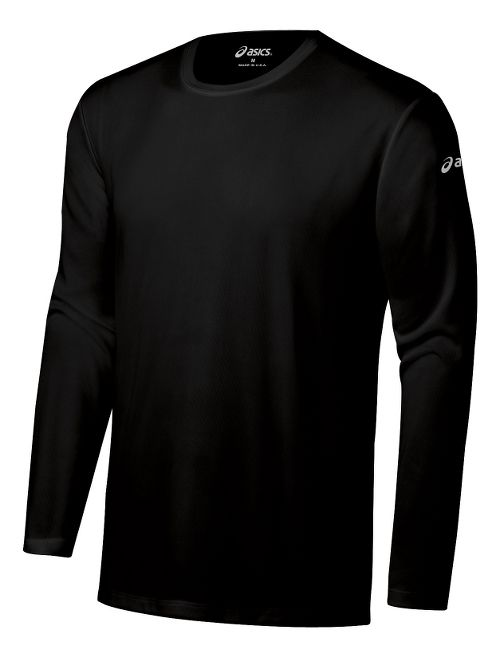 Mens ASICS Ready-Set Long Sleeve No Zip Technical Tops - Black XS