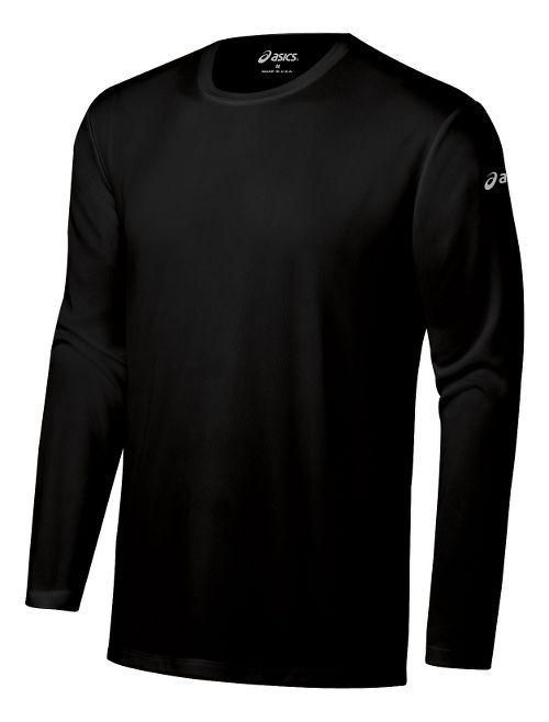 Mens ASICS Ready-Set Long Sleeve No Zip Technical Tops - Black XXL