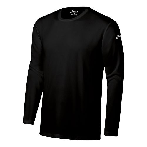 Mens ASICS Ready-Set Long Sleeve No Zip Technical Tops - Black XXS