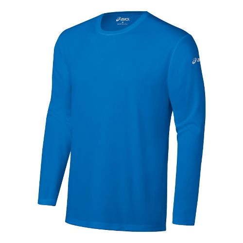 Mens ASICS Ready-Set Long Sleeve No Zip Technical Tops - Electric M
