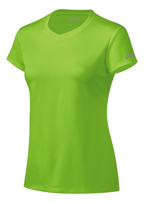 Womens ASICS Ready-Set Short Sleeve Technical Tops - Green Gecko M