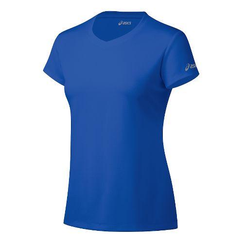 Womens ASICS Ready-Set Short Sleeve Technical Tops - Blue Purple XS