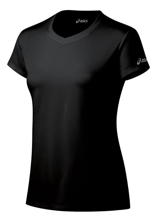 Womens ASICS Ready-Set Short Sleeve Technical Tops - Black M