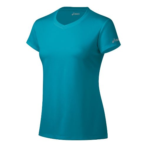 Womens ASICS Ready-Set Short Sleeve Technical Tops - Bondi Blue XL