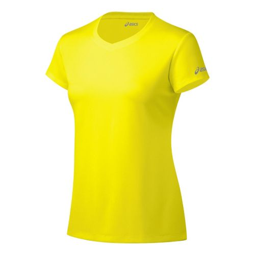 Womens ASICS Ready-Set Short Sleeve Technical Tops - Neon XS