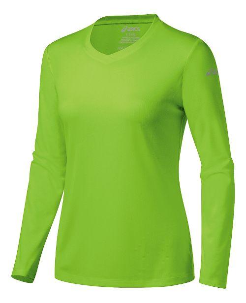 Womens ASICS Ready-Set Long Sleeve Technical Tops - Green Gecko XS