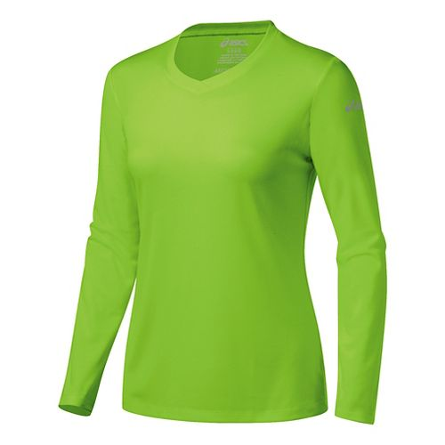 Womens ASICS Ready-Set Long Sleeve Technical Tops - Green Gecko XL