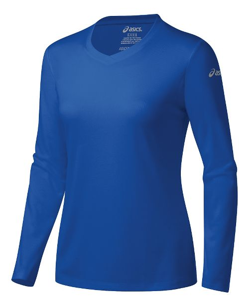 Womens ASICS Ready-Set Long Sleeve Technical Tops - New Blue L